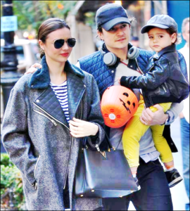 Miranda Keer and Orlando Bloom with Son