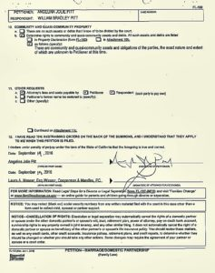 """EXCLUSIVE: Angelina Jolie has cited """"irreconcilable differences"""" as the reason for wanting to divorce Brad Pitt and court documents list their separation date as September 15, 2016. The divorce petition, filed at Los Angeles Superior Court on September 19, lists the names of the couple's children and states that Jolie is requesting sole physical custody with visitation rights for Pitt. She wants them to share legal custody of the brood and she is not offering or requesting any spousal support. The 11-page court document is also requesting that """"miscellaneous jewelry and other personal effects"""" are considered separate property, along with earnings and accumulations made by Jolie after the date of separation. Jolie, who married Pitt in 2014, wants them to split the legal costs of the divorce case. Ref: SPL1358494 200916 EXCLUSIVE Picture by: Splash News Splash News and Pictures Los Angeles: 310-821-2666 New York: 212-619-2666 London: 870-934-2666 photodesk@splashnews.com"""